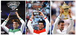 FILE- In this combo of 2021 file photos, Serbia's Novak Djokovic poses with the trophy after winning a Grand Slam tennis tournament, from left, Australian Open, French Open and Wimbledon. Djokovic is 26-0 in Grand Slam matches in 2021, moving him two victories away from being the first man to win all four major tennis championships in one season since Rod Laver in 1969. (AP Photo/File)