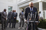 Former NFL football player Jim Brown speaks after walking out of the West Wing of White House, Tuesday, Feb. 18, 2020, in Washington. It was announced that President Donald Trump has granted a full pardon to Edward DeBartolo Jr., former owner of the San Francisco 49ers NFL football team convicted in gambling fraud scandal. (AP Photo/Alex Brandon)