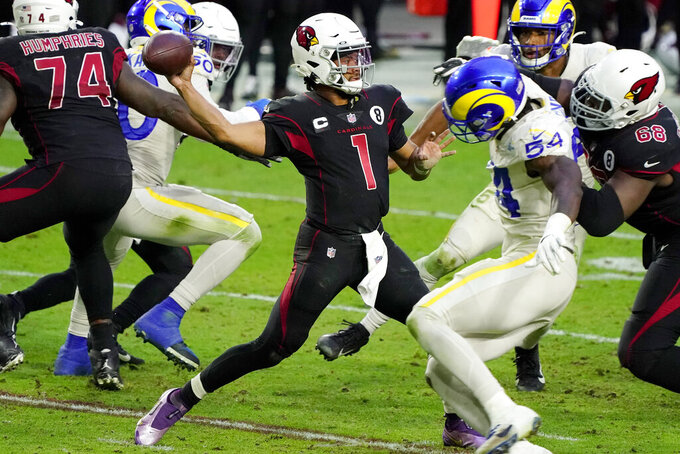 Arizona Cardinals quarterback Kyler Murray (1) throws against the Los Angeles Rams during the second half of an NFL football game, Sunday, Dec. 6, 2020, in Glendale, Ariz. The Rams won 38-28. (AP Photo/Rick Scuteri)