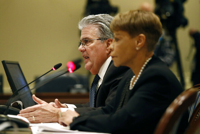 University System of Maryland chancellor Robert Caret, left, speaks alongside Board of Regents chair Linda Gooden at a House of Delegates appropriations committee hearing, Thursday, Nov. 15, 2018, in Annapolis, Md. The hearing was called to examine how the Board of Regents and the University of Maryland responded to the death of football player Jordan McNair. (AP Photo/Patrick Semansky)