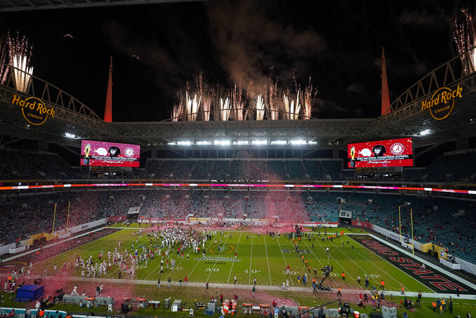 Alabama celebrates after their win against Ohio State in an NCAA College Football Playoff national championship game, Monday, Jan. 11, 2021, in Miami Gardens, Fla. Alabama won 52-24. (AP Photo/Wilfredo Lee)
