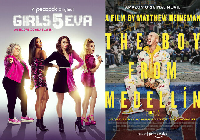 "This combination of photos shows promotional art for ""Girls5eva,"" a Peacock original series premiering Thursday, left, and ""The Boy from Medellin,"" a film premiering Friday on Amazon. (Peacock/Amazon via AP)"