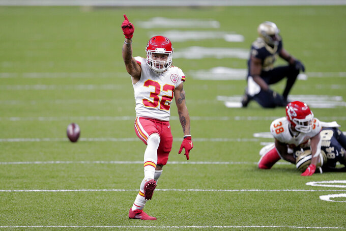 Kansas City Chiefs strong safety Tyrann Mathieu (32) reacts after a pass breakup intended for New Orleans Saints wide receiver Lil'Jordan Humphrey (84) in the second half of an NFL football game in New Orleans, Sunday, Dec. 20, 2020. (AP Photo/Brett Duke)