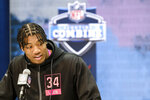Clemson linebacker Isaiah Simmons speaks during a press conference at the NFL football scouting combine in Indianapolis, Thursday, Feb. 27, 2020. (AP Photo/AJ Mast)