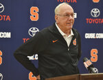 "FILE - In this Oct. 17, 2017, file photo, Syracuse coach Jim Boeheim speaks to reporters during the NCAA college basketball team's media day in Syracuse, N.Y. The Carrier Dome was built in the late 1970s at a cost of $26.85 million. ""I remember. I was very skeptical playing in there,"" Boeheim said. (Scott Schild/The Post-Standard via AP, File)"