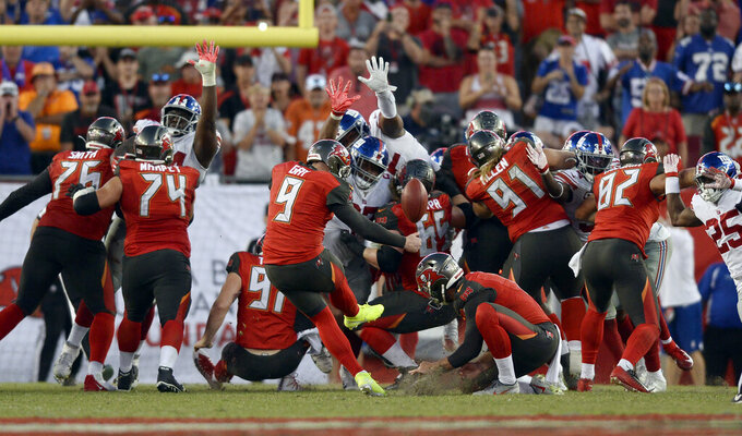 Tampa Bay Buccaneers' Matt Gay (9) misses a field goal as time expires against the New York Giants during the second half of an NFL football game Sunday, Sept. 22, 2019, in Tampa, Fla. (AP Photo/Jason Behnken)
