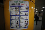 A man wearing a face mask walks near a banner displaying precautions against the coronavirus at a subway station in Seoul, South Korea, Sunday, Dec. 27, 2020. The banner reads:
