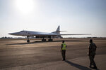 One of two Tu-160 Russian Airforce bombers land at the Waterkloof Airforce Base in Pretoria, South Africa Wednesday, Oct. 23, 2019.  Two Russian nuclear-capable strategic bombers have landed in South Africa in the first-ever visit to the continent, while Russian President Vladimir Putin is hosting 43 leaders of Africa's 54 countries in the first-ever Russia-Africa summit, reflecting Moscow's new push to expand its clout on the continent. (AP Photo)