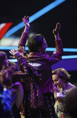 Maneskin from Italy react after winning the Grand Final of the Eurovision Song Contest at Ahoy arena in Rotterdam, Netherlands, Saturday, May 22, 2021. (AP Photo/Peter Dejong)