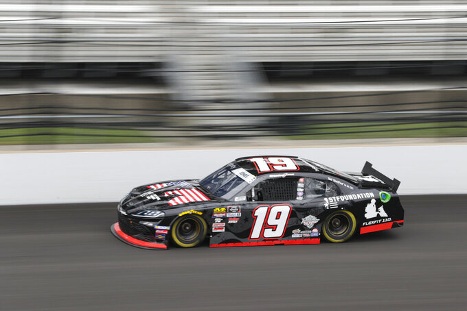 NASCAR Xfinity Series driver Brandon Jones drives down the main straightaway during NASCAR Xfinity auto racing practice at Indianapolis Motor Speedway, Friday, Sept. 6, 2019 in Indianapolis. (AP Photo/Michael Conroy)