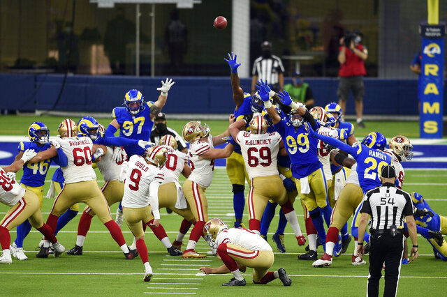 San Francisco 49ers kicker Robbie Gould (9) kicks the game-winning field goal as time expires during the second half of an NFL football game against the Los Angeles Rams Sunday, Nov. 29, 2020, in Inglewood, Calif. San Francisco won 23-20. (AP Photo/Kelvin Kuo)