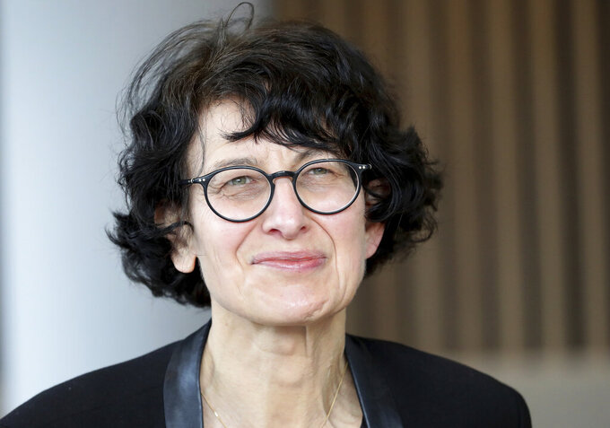Ozlem Tureci founder of the BioNTech company speaks during an interview with the Associated Press in Berlin, Germany, Thursday, March 18, 2021. (AP Photo/Michael Sohn)