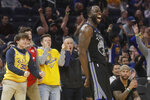 Golden State Warriors forward Draymond Green (23) celebrates after scoring against the Chicago Bulls during the second half of an NBA basketball game in San Francisco, Wednesday, Nov. 27, 2019. (AP Photo/Jeff Chiu)
