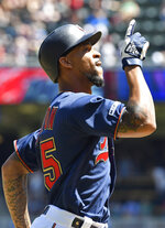 Minnesota Twins' Byron Buxton celebrates his two-run home run off Los Angeles Angels pitcher Trevor Cahill in the fifth inning of a baseball game Wednesday, May 15, 2019, in Minneapolis. (AP Photo/Jim Mone)