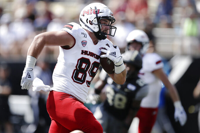 Northern Illinois tight end Mitchell Brinkman (89) scores a touchdown on a 38-yard pass play against Vanderbilt in the second half of an NCAA college football game Saturday, Sept. 28, 2019, in Nashville, Tenn. Vanderbilt won 24-18. (AP Photo/Mark Humphrey)