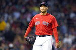 Boston Red Sox starting pitcher Eduardo Rodriguez walks to the dugout after being removed during the fourth inning of the team's baseball game against the Toronto Blue Jays at Fenway Park, Thursday, July 29, 2021, in Boston. (AP Photo/Elise Amendola)