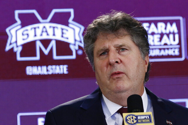New Mississippi State NCAA college football coach Mike Leach speaks at a news conference Friday, Jan. 10, 2020, at the Starkville, Miss., based university, after being officially introduced as the head coach. (AP Photo/Rogelio V. Solis)