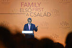CORRECTS SLOVAKIAN TO CZECH PRIME MINISTER --- Czech Prime Minister Andrej Babis delivers a speech during the 3rd Budapest Demographic Summit in Varkert Bazar conference center in Budapest, Hungary, Thursday, Sept. 5, 2019. The Hungarian capital city, which hosts the international summit for the third time after 2015 and 2017, welcomes politicians, scientists, church dignitaries and public personalities to give presentations and exchange their experiences on current population trends. (Szilard Koszticsak/MTI via AP)