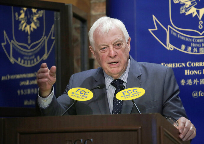 """In this Sept. 19, 2017, photo, Chris Patten, Hong Kong's last British governor, listens to questions at The Foreign Correspondents' Club to promote his new book in Hong Kong. Patten, is urging protesters in Hong Kong not to """"lose faith"""" as Beijing appears to be tightening its control of the semi-autonomous city. The former British colony was returned to China under a """"one country, two systems"""" framework that gives it greater freedoms. (AP Photo/Vincent Yu, File)"""