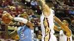 Florida State center Dominik Olejniczak (15) and guard Anthony Polite (2) trap North Carolina forward Armando Bacot (5) in the first half of an NCAA college basketball game in Tallahassee, Fla., Monday, Feb. 3, 2020. (AP Photo/Mark Wallheiser)