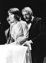 FILE - In this March 3, 1973, file photo, Helen Reddy wins a Grammy Award for the best female song of the year in Nashville, Tenn. Reddy, who gained prominence for her woman's liberation song