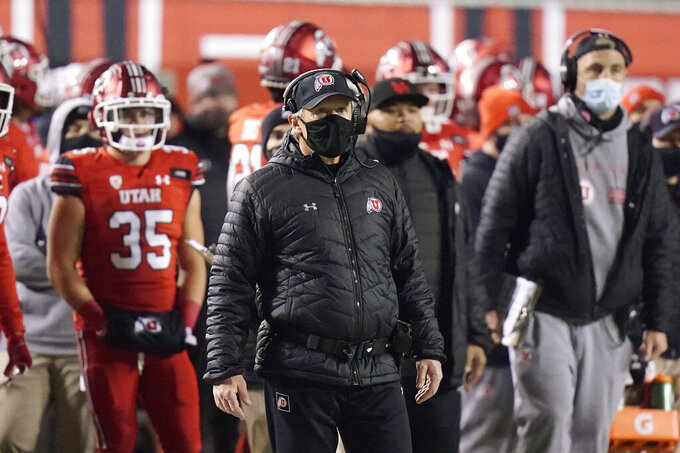 Utah head coach Kyle Whittingham looks on during the second half of an NCAA college football game against Oregon State Saturday, Dec. 5, 2020, in Salt Lake City. (AP Photo/Rick Bowmer)