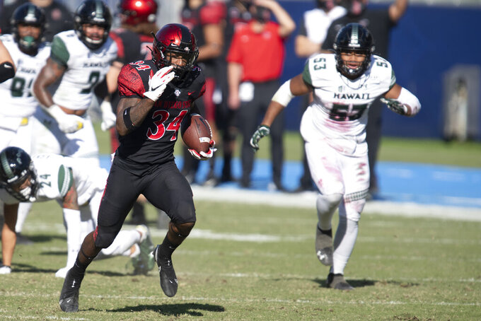 San Diego State running back Greg Bell, left, sprints for a touchdown during the first half of an NCAA college football game against Hawaii Saturday, Nov. 14, 2020, in Carson, Calif. (AP Photo/Kyusung Gong)