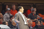 Baylor head coach Scott Drew reacts during the first half of an NCAA college basketball game in Stillwater, Okla., Saturday, Jan. 18, 2020. Baylor defeated Oklahoma State 75-68. (AP Photo/Brody Schmidt)