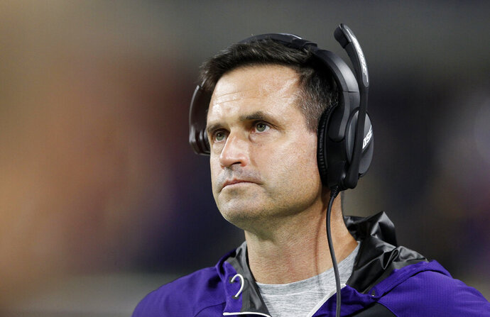 FILE- In this Dec. 1, 2016, file photo, Minnesota Vikings interim head coach Mike Priefer watches from the sideline during the second half of an NFL football game against Dallas Cowboys in Minneapolis. Former Vikings assistant Priefer will handle special teams for new Cleveland Browns coach Freddie Kitchens. Priefer, who was suspended three games by Minnesota in 2014 for an insensitive remark, released a statement Friday, Jan. 11, 2019, saying he is coming to Cleveland. (AP Photo/Andy Clayton-King, File)