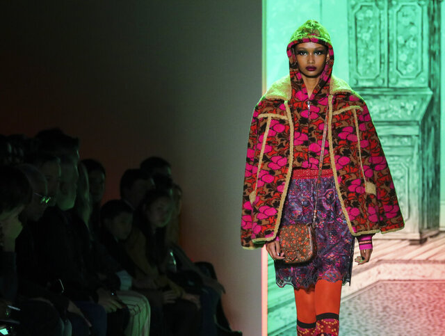 The latest fashion creation from Anna Sui is modeled during New York's Fashion Week, Monday, Feb. 10, 2020. (AP Photo/Bebeto Matthews)