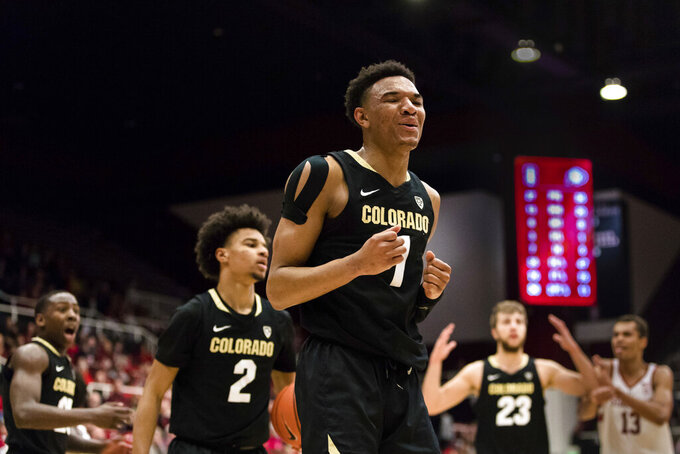 Colorado guard Tyler Bey reacts after a foul was called in favor of Stanford during the first half of an NCAA college basketball game in Stanford, Calif., Saturday, Jan. 26, 2019. (AP Photo/John Hefti)