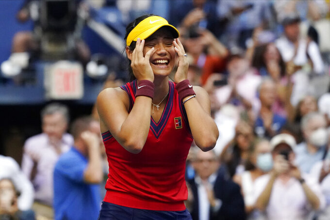 Emma Raducanu, of Britain, reacts after defeating Leylah Fernandez, of Canada, during the women's singles final of the US Open tennis championships, Saturday, Sept. 11, 2021, in New York. (AP Photo/Elise Amendola)