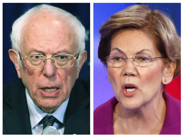 FILE - This panel of 2020 file photos show Sen. Bernie Sanders, I-Vt., and Sen. Elizabeth Warren, D-Mass. The two will address an online event for the Maine Democratic Party on May 31 after the state convention in Bangor was canceled because of the coronavirus pandemic. (AP Photos, File)