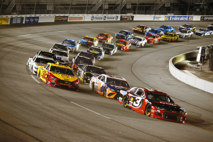 Austin Dillon #3 took the lead during a NASCAR Cup Series auto race Saturday, Sept. 12, 2020, in Richmond, Va. (James Wallace/Richmond Times-Dispatch via AP)