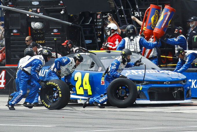 William Byron pits during a NASCAR Cup Series auto race at Pocono Raceway, Sunday, June 2, 2019, in Long Pond, Pa. (AP Photo/Matt Slocum)