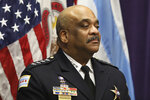 FILE - In this Nov. 7, 2019 file photo, Chicago Police Superintendent Eddie Johnson speaks at a news conference in Chicago. An inspector general's report concluded Thursday, July, 16, 2020, that Johnson drove a city vehicle while under the influence of alcohol and lied about the incident that led to his December firing. Johnson wasfound asleep behind the wheel of his police carin October after consuming