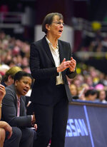 Stanford head coach Tara VanDerveer calls a play from the bench during the second half of an NCAA college basketball game against Oregon, Sunday, Feb. 10, 2019, in Stanford, Calif. (AP Photo/Tony Avelar)