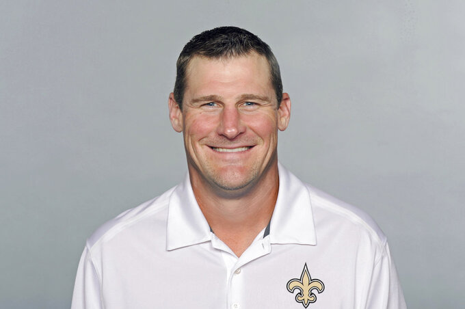 FILE - This is a 2016 file photo showing Dan Campbell of the New Orleans Saints NFL football team. The Browns took their coaching search on the road and interviewed tight ends coach Campbell. The 42-year-old Campbell met Friday, Jan. 4, 2019, with Browns general manager John Dorsey and other members of Cleveland's committee while the Saints practiced during their bye week in the NFL playoffs. (AP Photo/File)