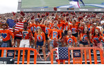 Auburn students use body paint to remember 9/11 during the first half of an NCAA football game against Alabama State Saturday, Sept. 11, 2021, in Auburn, Ala. (AP Photo/Butch Dill)