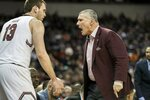 South Carolina head coach Frank Martin shouts at forward Felipe Haase (13) during the first half of an NCAA college basketball game against Auburn Tuesday, Jan. 22, 2019, in Columbia, S.C. (AP Photo/Sean Rayford)