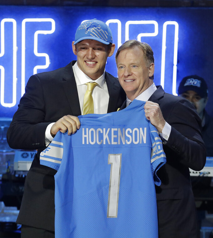 Iowa tight end T.J. Hockenson poses with NFL Commissioner Roger Goodell after the Detroit Lions selected Hockenson in the first round at the NFL football draft, Thursday, April 25, 2019, in Nashville, Tenn. (AP Photo/Steve Helber)