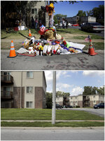 This combination of photos shows a rebuilt memorial in place of one that burned down Sept. 23, 2014, top, and the same location with faint