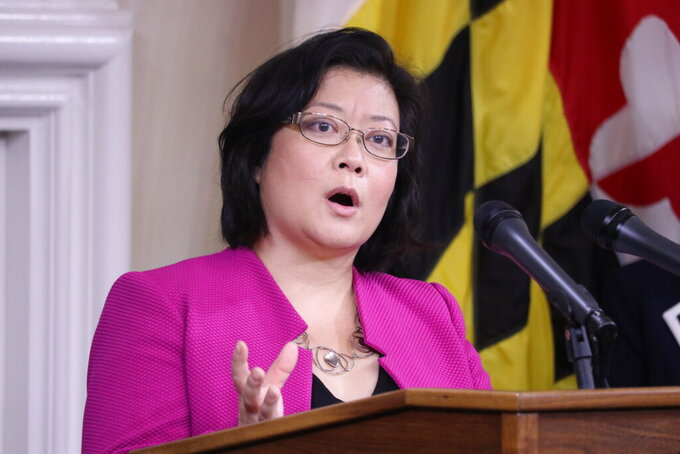 FILE - In this Thursday, Nov. 12, 2020 file photo, Dr. Jinlene Chan, Maryland's deputy health secretary, speaks during a news conference about battling the coronavirus pandemic in Annapolis, Md. All Maryland hospitals are expected to receive some COVID-19 vaccine in the next two weeks to begin vaccinating critical frontline staff, a state health official said Tuesday, Dec. 15, 2020. Dr. Jinlene Chan, Maryland's acting deputy health secretary, said nursing homes also will begin vaccinations within the next two weeks. (AP Photo/Brian Witte, File)