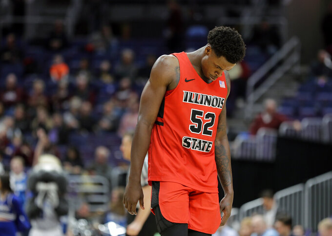 Illinois State's Milik Yarbrough reaxts late during the second half of an NCAA college basketball game against Drake in the quarterfinal round of the Missouri Valley Conference tournament, Friday, March 8, 2019, in St. Louis. (AP Photo/Jeff Roberson)