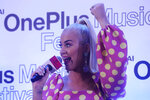 Singer Katy Perry speaks during a press conference ahead of her performance in Mumbai, India, Tuesday, Nov. 12, 2019. (AP Photo/Rafiq Maqbool)