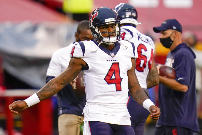 Houston Texans quarterback Deshaun Watson (4) warms up before an NFL football game against the Kansas City Chiefs Thursday, Sept. 10, 2020, in Kansas City, Mo. (AP Photo/Jeff Roberson)