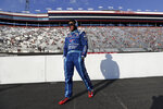 Bubba Wallace (43) arrives for a NASCAR All-Star Open auto race at Bristol Motor Speedway in Bristol, Tenn, Wednesday, July 15, 2020. (AP Photo/Mark Humphrey)