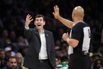 Boston Celtics head coach Brad Stevens argues a call during the first half of an NBA basketball game against the Los Angeles Lakers Sunday, Feb. 23, 2020, in Los Angeles. (AP Photo/Marcio Jose Sanchez)
