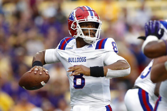 FILE - In this Sept. 22, 2018, file photo,Louisiana Tech quarterback J'Mar Smith (8) is shown in the first half of an NCAA college football game against LSU, in Baton Rouge, La. Louisiana Tech plays at No. 10 Texas on Saturday, Aug. 31, 2019. (AP Photo/Tyler Kaufman, File)