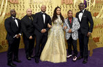 Ava DuVernay, center, is joined by Antron McCray ,Raymond Santana, Kevin Richardson, Korey Wise and Yusef Salaam, of the Central Park 5, during arrivals of the 71st Primetime Emmy Awards on Sunday, Sept. 22, 2019, at the Microsoft Theater in Los Angeles. (Photo by Jordan Strauss/Invision/AP)